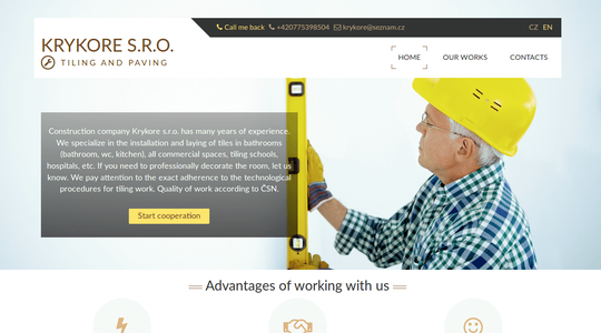 "Business site for czech company ""Krykore"""