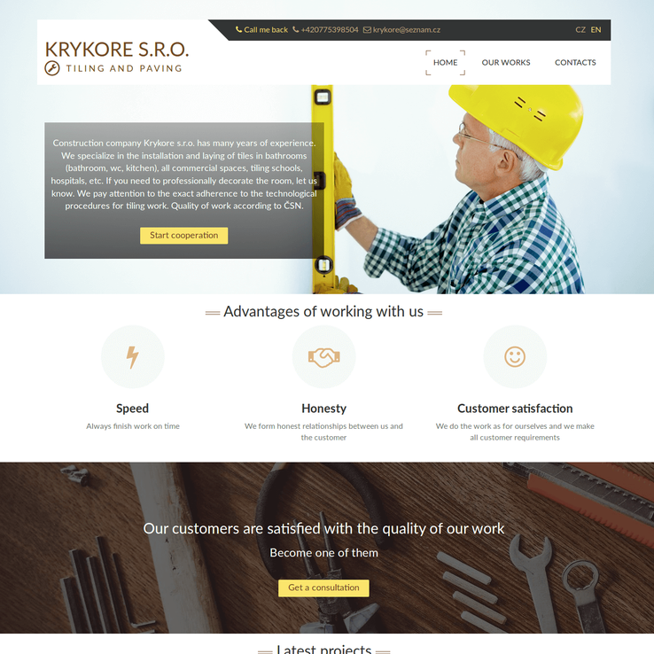 "Homepage of ""Krykore"" company site"